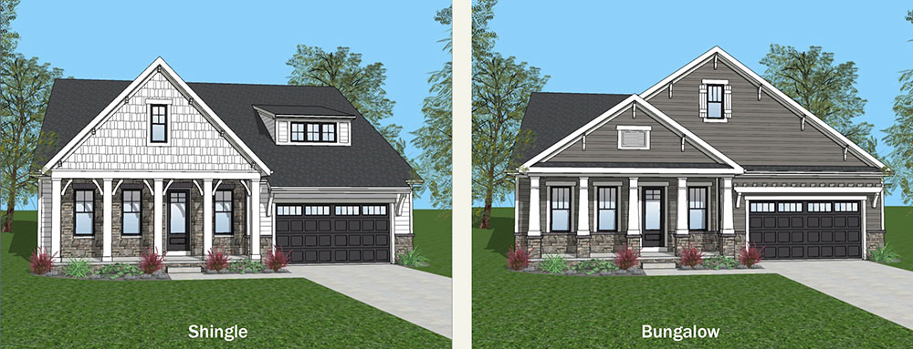illustrations of shingle and bungalow style homes in a maintenance-free community